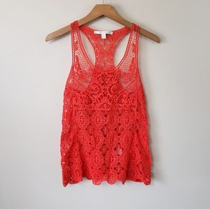 LC Lauren Conrad Crochet Lace Tank Top